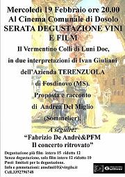 Serata degustazione vini- a seguire il film De Andrè & PFM il concerto ritrovato